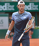 Jao Sousa (POR) battles Andy Murray at  Roland Garros being played at Stade Roland Garros in Paris, France on May 28, 2015