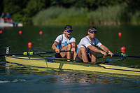 """Lucerne, SWITZERLAND, 12th July 2018, Friday, """"ARG  M2-"""",  before the """"start"""" of theit """"heat in the Men's Pair"""",  """"Start Area"""", FISA World Cup series, No.3, Lake Rotsee, Lucerne, © Peter SPURRIER,"""