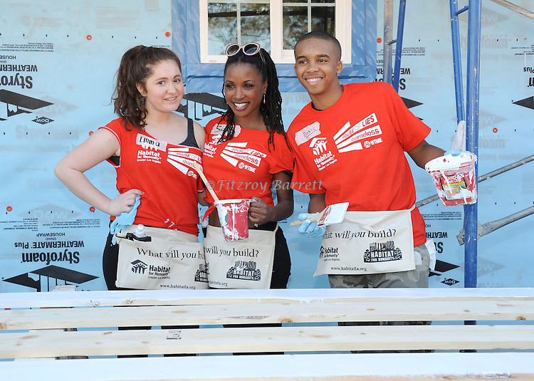Emma Kenney, Shanola Hampton and Donis Leonard Jr. at the Habitat For Humanity With Stars From Shamless and House Of Lies help build homes in Los Angeles, CA. October 25, 2014.