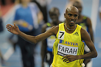 Photo: Ady Kerry/Richard Lane Photography..Aviva Grand Prix. 21/02/2009. .Mo Farah wins the 300m and celebrates after setting a new British record
