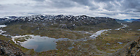 Panoramic view over spectacular Alisvaggi from mountain viewpoint near Tjäktja hut, Kungsleden trail, Lapland, Sweden