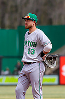 Clinton LumberKings first baseman Ryan Costello (13) during a Midwest League game against the Wisconsin Timber Rattlers on April 26, 2018 at Fox Cities Stadium in Appleton, Wisconsin. Clinton defeated Wisconsin 7-3. (Brad Krause/Four Seam Images)