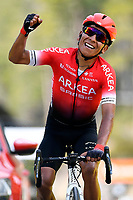 14th March 2020, Paris to Nice cycling tour, final day, stage 7;  QUINTANA Nairo (COL) of TEAM ARKEA - SAMSIC celebrates the victory of stage 7 of the 78th edition of the Paris - Nice cycling race, a stage of 166,5km with start in Nice and finish in Valdeblore La Colmiane on March 14, 2020 in Valdeblore La Colmiane, France
