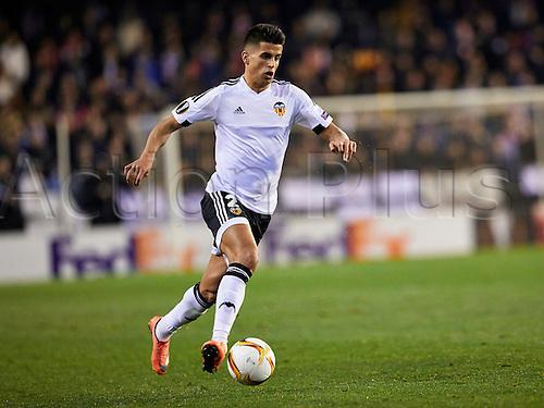 18.02.2016. Mestalla Stadium, Valencia, Spain. Europa League. Valencia versus Rapid Wien. Defender Joao Cancelo of Valencia CF in action