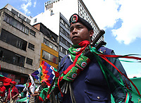 BOGOTÁ - COLOMBIA, 4-12-2019:Paro Nacional.Manifestantes de La guardia Indigena del Cauca y estudiantes universidades públicas de Bogotá ./<br /> National strike. Protesters of the Indigenous Guard of Cauca and students public universities of Bogotá . Photo: VizzorImage / Felipe Caicedo / Satff