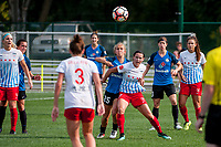 Kansas City, MO - Wednesday August 16, 2017: Brittany Ratcliffe, Taylor Comeau during a regular season National Women's Soccer League (NWSL) match between FC Kansas City and the Chicago Red Stars at Children's Mercy Victory Field.