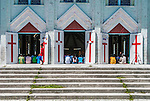 Full house. Church on South Tarawa, Kiribati