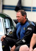 Aug. 3, 2013; Kent, WA, USA: NHRA top alcohol funny car driver Jirka Kaplan during qualifying for the Northwest Nationals at Pacific Raceways. Mandatory Credit: Mark J. Rebilas-USA TODAY Sports