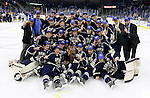 SIOUX FALLS, SD - MAY 15:  The Sioux Falls Stampede celebrate their 4-2 win over the Muskegon Lumberjacks to win the 2015 Clark Cup at the Denny Sanford Premier Center Friday night.  (Photo by Dave Eggen/Inertia)