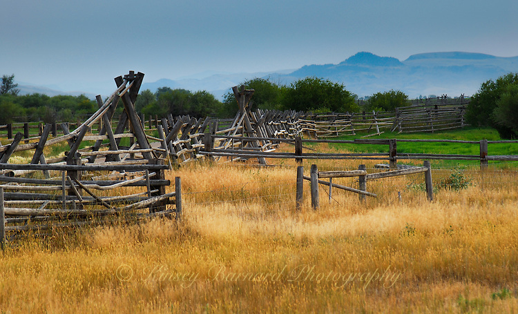 Old cattle gathering pens dot the rural landscapes in Montana