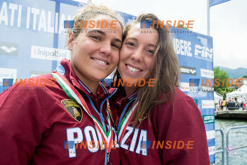 Martina Grimaldi e Aurora Ponsele Fiamme Oro<br /> 10 km donne<br /> Omegna (Verbania), Lago D'Orta<br /> FIN 2016 Campionato Italiano Assoluto Nuoto di Fondo <br /> <br /> Day 02 11-06-2016<br /> Photo Laura Binda/Deepbluemedia/Insidefoto