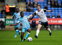 Bolton Wanderers' Harry Brockbank (right) competing with Coventry City's  Brandon Mason<br /> <br /> Photographer Andrew Kearns/CameraSport<br /> <br /> The EFL Sky Bet Championship - Bolton Wanderers v Coventry City - Saturday 10th August 2019 - University of Bolton Stadium - Bolton<br /> <br /> World Copyright © 2019 CameraSport. All rights reserved. 43 Linden Ave. Countesthorpe. Leicester. England. LE8 5PG - Tel: +44 (0) 116 277 4147 - admin@camerasport.com - www.camerasport.com