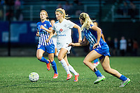Allston, MA - Sunday, May 22, 2016: Boston Breakers midfielder Louise Schillgard (10) and FC Kansas City defender Katie Bowen (21) during a regular season National Women's Soccer League (NWSL) match at Jordan Field.