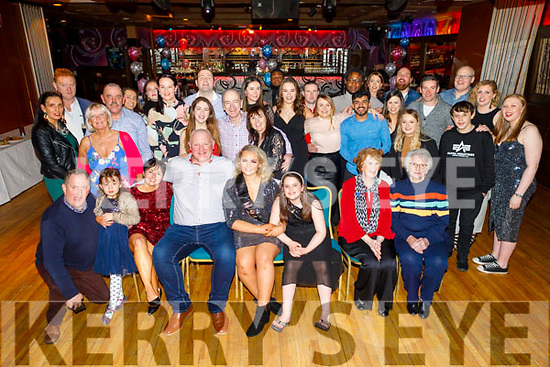 Cliff Dillon from Curaheen Tralee celebrates his big 50 and his daughter Andrea celebrates her 21st in the Grand Hotel on Saturday night. <br /> Seated l to r: Declan and Matilda Moriarty, Betty, Cliff, Andrea and Ava Dillion, Kathleen Moriarty, Eileen Flaherty.