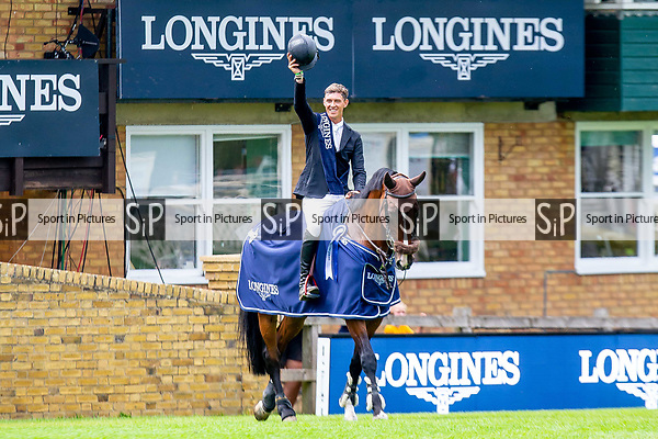 Winner. Kevin Jochems riding Captain Cooper. NED. The Longines BHS King George V Gold Cup. Prizegiving.  Longines FEI Jumping Nations Cup of Great Britain at the BHS Royal International Horse Show. All England Jumping Course. Hickstead. Great Britain. 27/07/2018. ~ MANDATORY Credit Elli Birch/Sportinpictures - NO UNAUTHORISED USE - 07837 394578
