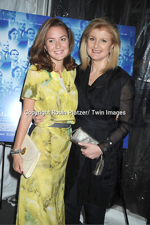 "Arianna Huffington and daughter attends the special screening of ""The Master"" on September 11, 2012 at The Ziegfeld Theatre in New York City which was presented by The Peggy Siegal Company."