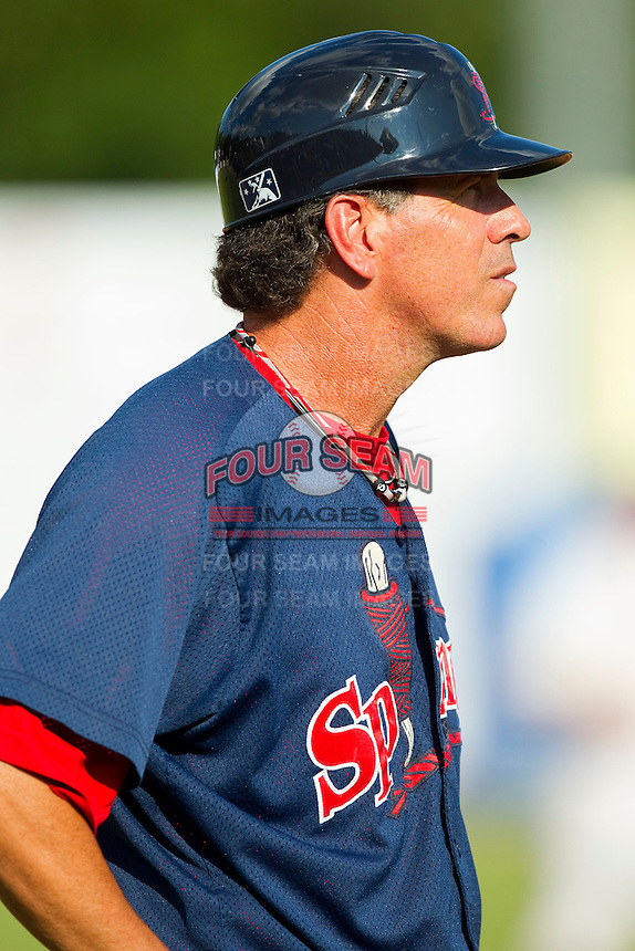 Lowell Spinners manager Bruce Crabbe (26) coaches third base during the New York-Penn League game against the Hudson Valley Renegades at Dutchess Stadium on August 12, 2012 in Wappingers Falls, New York.  (Brian Westerholt/Four Seam Images)
