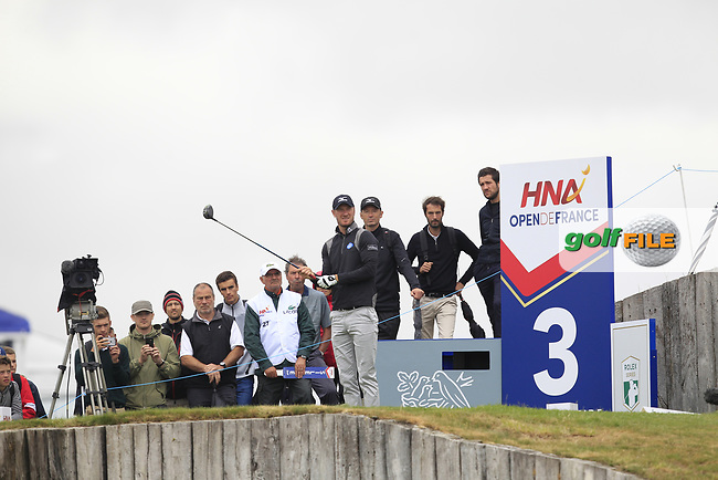 Chris Wood (ENG) on the 3rd tee during Round 2 of the HNA Open De France  at The Golf National on Friday 30th June 2017.<br /> Photo: Golffile / Thos Caffrey.<br /> <br /> All photo usage must carry mandatory copyright credit      (&copy; Golffile | Thos Caffrey)