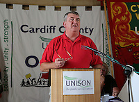 Andy Richards, Wales Secretary of Unite and Wales TUC President speaking at the Public service one day strike rally at  the Temple of Peace, Cardiff - 10th July 2014