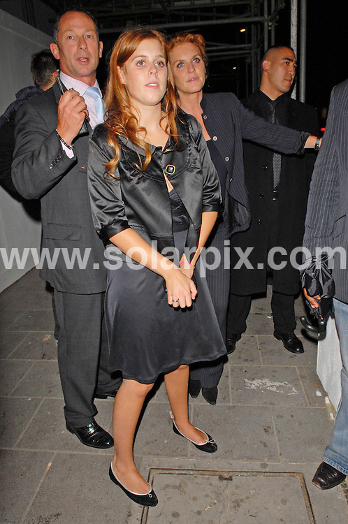 **ALL ROUND PICTURES FROM SOLARPIX.COM**.**WORLDWIDE SYNDICATION RIGHTS**.Princess Beatrice and Sarah Ferguson enjoy a night at Mahiki Nightclub..London .JOB REF:    4796   LDY        DATE: 20.09.07.**MUST CREDIT SOLARPIX.COM OR DOUBLE FEE WILL BE CHARGED* *UNDER NO CIRCUMSTANCES IS THIS IMAGE TO BE REPRODUCED FOR ANY ONLINE EDITION WITHOUT PRIOR PERMISSION*