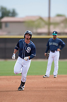 San Diego Padres catcher Luis Anguizola (59) during a Minor League Spring Training game against the Seattle Mariners at Peoria Sports Complex on March 24, 2018 in Peoria, Arizona. (Zachary Lucy/Four Seam Images)