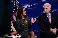 "Washington, DC - February 27, 2017: Illinois Attorney General Lisa Madigan speaks during the ""States Defending Progress forum at the Center for American Progress, February 27, 2017, as Virginia Attorney General Mark Herring looks on.  (Photo by Don Baxter/Media Images International)"