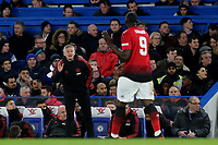 Manchester United Caretaker Manager, Ole Gunnar Solskjaer has a word with Romelu Lukaku during Chelsea vs Manchester United, Emirates FA Cup Football at Stamford Bridge on 18th February 2019