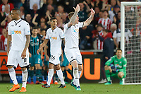 Alfie Mawson of Swansea City asks the home crowd to show their support after conceding a goal during the Premier League match between Swansea City and Southampton at The Liberty Stadium, Swansea, Wales, UK. Tuesday 08 May 2018