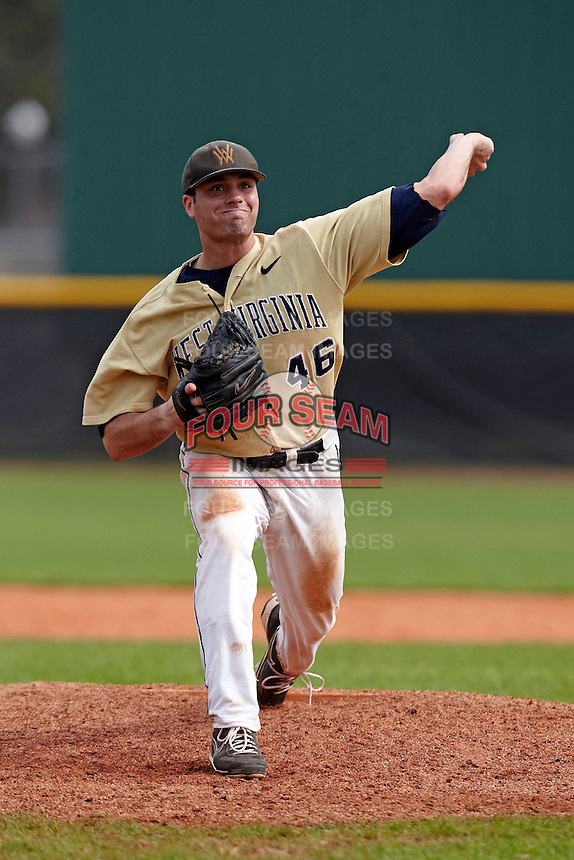 West Virginia Mountaineers pitcher Ryan McBroom #46 during a game against the Michigan Wolverines at the Big Ten/Big East Challenge at the Walter Fuller Complex on February 19, 2012 in St. Petersburg, Florida.  (Mike Janes/Four Seam Images)