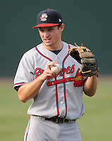 Infielder Phil Gosselin (30) of the Rome Braves in a game against the Greenville Drive Aug. 9, 2010, at Fluor Field at the West End in Greenville, S.C. Gosselin was the Atlanta Braves' 5th round pick in the 2010 Draft. Photo by: Tom Priddy/Four Seam Images