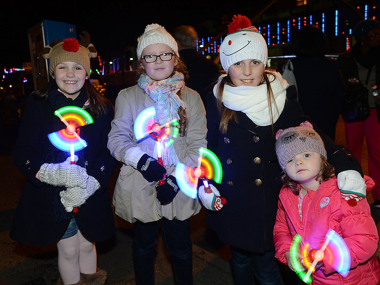 Casey and Kaylin Nugent , Chloe Campbell and Kayla Bull pictured at the fireworks display at Scotch Hall. Photo:Colin Bell/pressphotos.ie