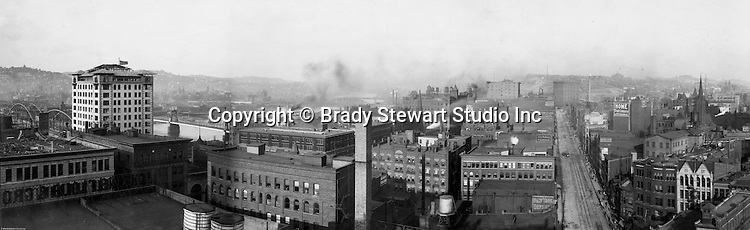 Pittsburgh PA: View of City from the top of the Empire building near the Point. View of the city looking up Liberty Avenue and the Allegheny River - 1904.