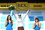 Pierre Latour (FRA) AG2R La Mondiale retains the White Jersey at the end of Stage 12 of the 2018 Tour de France running 175.5km from Bourg-Saint-Maurice les Arcs to Alpe D'Huez, France. 19th July 2018. <br /> Picture: ASO/Alex Broadway | Cyclefile<br /> All photos usage must carry mandatory copyright credit (&copy; Cyclefile | ASO/Alex Broadway)