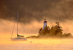 Baddeck Lighthouse at Baddeck, Cape Breton Island, Nova Scotia, Canada