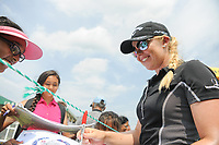 Stephanie Meadow (NIR) signs autographs for young fans enroute to the 16th tee during Wednesday's preview of the 72nd U.S. Women's Open Championship, at Trump National Golf Club, Bedminster, New Jersey. 7/12/2017.<br /> Picture: Golffile | Ken Murray<br /> <br /> <br /> All photo usage must carry mandatory copyright credit (&copy; Golffile | Ken Murray)