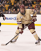 Brooks Dyroff (BC - 14) - The Boston College Eagles defeated the Northeastern University Huskies 6-3 for their fourth consecutive Beanpot championship on Monday, February 11, 2013, at TD Garden in Boston, Massachusetts.