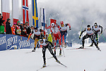 Athletes competes during the FIS Ski World Cup 1.3 Km Sprint Free finals, on February 2, 2014 in Dobbiaco, Toblach. <br /> <br /> &copy; Pierre Teyssot