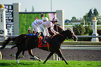 Wigmore Hall (IRE) (7) with jockey Jamie P. Spencer passes Al Khali (3) with jockey Garrett K. Gomez in the Canadian Stakes (Grade II)  at Woodbine Race Course in Ontario, Canada on September 16, 2012.