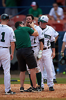 Dartmouth Big Green center fielder Nick Ruppert (1) gets checked out by athletic trainer Peter Tryon and head coach Bob Whalen (2) after getting hit in the face with a pitch during a game against the Lehigh Mountain Hawks on March 20, 2016 at Chain of Lakes Stadium in Winter Haven, Florida.  Dartmouth defeated Lehigh 5-4.  (Mike Janes/Four Seam Images)