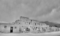 Historic Taos Pueblo in Black and White - New Mexico