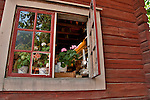 Window into the pottery store and workshop at Skansen, the outdoor park in Stockholm with historical buildings from all over Sweden