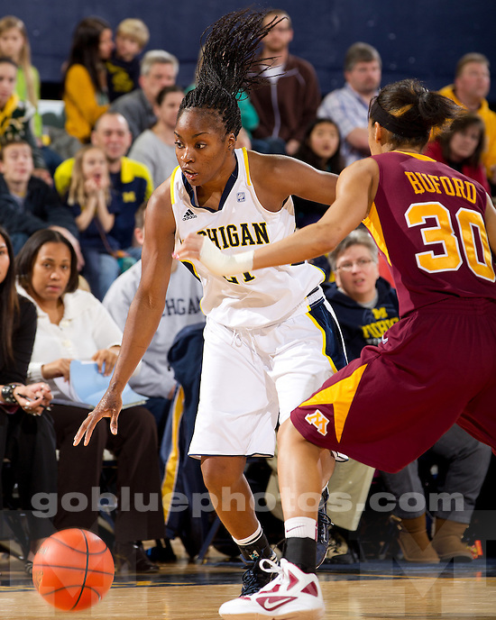 The University of Michigan women's basketball team defeated the University of Minnesota, 61-57, at Crisler Arena in Ann Arbor, Mich., on January 15, 2011.