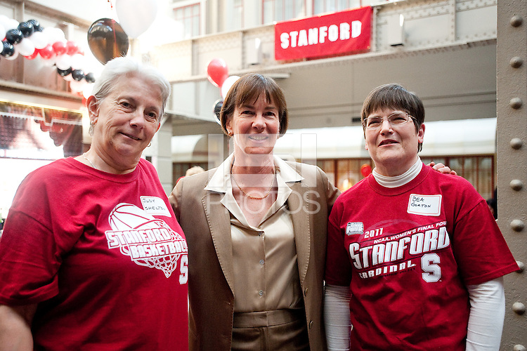 INDIANAPOLIS, IN - APRIL 3, 2011: Head Coach Tara VanDerveer enjoys the pregame festivites before the NCAA Final Four against Texas A&M at Conseco Fieldhouse  in Indianapolis, IN on April 1, 2011.