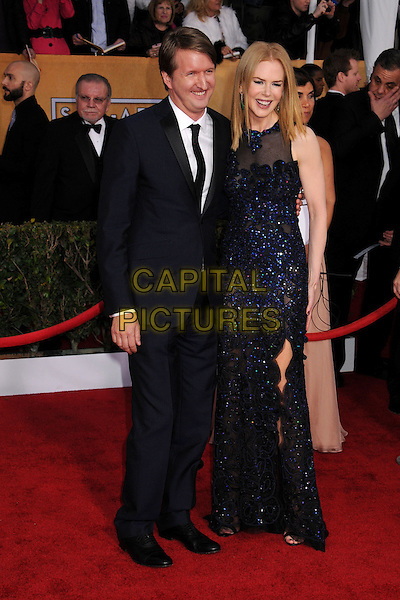 Tom Hooper & Nicole Kidman Urban (wearing Vivienne Westwood).Arrivals at the 19th Annual Screen Actors Guild Awards at the Shrine Auditorium in Los Angeles, California, USA..27th January 2013.SAG SAGs full length black blue lace dress sheer sleeveless suit   .CAP/ADM/BP.©Byron Purvis/AdMedia/Capital Pictures