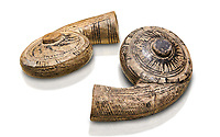 Two decorated terra cotta seashell shaped vessels found in the house of Assyrian trader, Elamma, at the second level of the Karum of Kultepe. - 19th to 17th century BC - Kültepe Kanesh - Museum of Anatolian Civilisations, Ankara, Turkey. Against a white background.