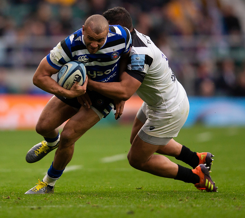 Bath Rugby's Jonathan Joseph in action during todays match<br /> <br /> Photographer Bob Bradford/CameraSport<br /> <br /> Gallagher Premiership - Bath Rugby v Bristol Bears - Saturday 6th April 2019 - The Recreation Ground - Bath<br /> <br /> World Copyright © 2019 CameraSport. All rights reserved. 43 Linden Ave. Countesthorpe. Leicester. England. LE8 5PG - Tel: +44 (0) 116 277 4147 - admin@camerasport.com - www.camerasport.com