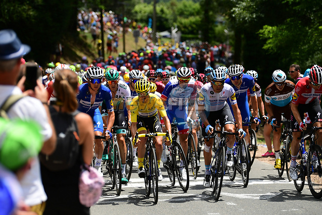 The peloton including Yellow Jersey Julian Alaphilippe (FRA) Deceuninck-Quick Step during Stage 9 of the 2019 Tour de France running 170.5km from Saint-Etienne to Brioude, France. 14th July 2019.<br /> Picture: ASO/Pauline Ballet | Cyclefile<br /> All photos usage must carry mandatory copyright credit (© Cyclefile | ASO/Pauline Ballet)
