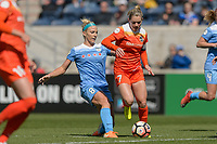 Bridgeview, IL - Saturday May 06, 2017: Julie Johnston Ertz, Kealia Ohai during a regular season National Women's Soccer League (NWSL) match between the Chicago Red Stars and the Houston Dash at Toyota Park. The Red Stars won 2-0.