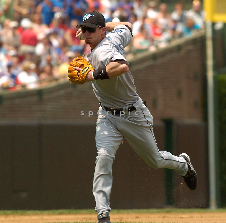 Russ Adams of the Toronto Blue Jays in action against the Chicago Cubs. ....Blue Jays lost 0-2.....David Durochik / SportPics..