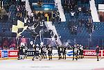 Stockholm 2014-10-02 Ishockey Hockeyallsvenskan AIK - BIK Karlskoga :  <br /> AIK:s spelare jublar med AIK:s supportrar efter matchen<br /> (Foto: Kenta J&ouml;nsson) Nyckelord:  AIK Gnaget Hockeyallsvenskan Allsvenskan Hovet Johanneshovs Isstadion Bofors BIK Karlskoga jubel gl&auml;dje lycka glad happy supporter fans publik supporters
